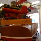Glen-L Monte Carlo as built by Dale Brevik - Lifting the engine into the boat
